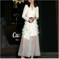pist tasarımları toptan satış-Lüks tasarım Pist kadın Elbiseler Yüksek Bel Patchwork Mesh Uzun Kollu Parti Elbise Kadın 2019 Bahar vestidos