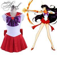anime cosplay kostüme seemann mond großhandel-Anime Sailor Moon Hino Rei Rot Kampf Uniform Cosplay Halloween Party Kostüm Kleid Nach Maß