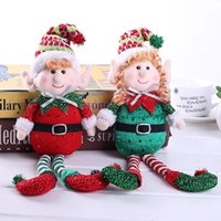 Wholesale long dolls resale online - New Cute Red And Green Long Legged Elf Christmas Dolls Gift Decoration Doll Christmas Tree Decoration for home