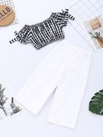 kız yaz pantolon pantolon toptan satış-Bebek Kız Çocuk Yaz Giyim Setleri Tam Çiçek Baskı Askı Gömlek + Pantolon Yaz Kız giyim setleri