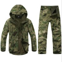 Wholesale soft skin tactical jacket online - Men Tactical Camouflage Jacket Pants Set Winter Waterproof Shark Skin Outdoor Fishing Hunting Soft Shell Army Fans Training Suit