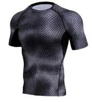 base layer toptan satış-Sıkıştırma Gömlek Erkekler 3D Baskılı T-Shirt Kısa Kollu Spor Baz Katmanlı Tayt Erkek Crossfit MMA Rashguard Marka Tees Tops