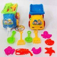 cubos de arena de playa al por mayor-20 Unids Summer Beach Sand Play Toys Car Sand Water Toys Kids Seaside Bucket Pala Rake Kit Jugar Toy Niños Dragado Herramientas Hot