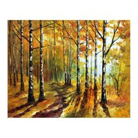 Wholesale oil landscapes painting knives online - 36x48 Pallet knife Canvas oil painting hand painted forest path living room sofa background wall decoration painting European painting
