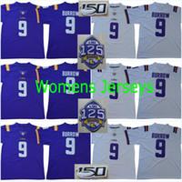 kadın yamaları toptan satış-Bayan LSU # 9 Joe Burrow 125TH 150TH Yama Womans # 3 Odell Beckham Jr. 2019 Yeni Stil Koleji Dikişli Formalar # 7 Leonard Fournette Jersey