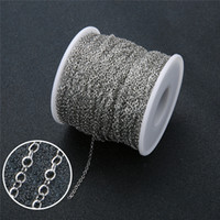 Wholesale 2mm rolo chain resale online - 5meter Width mm Stainless Steel Link Necklace Chain Metal Rolo Chains Bulk Diy Craft Bracelet Making Jewelry Accessories