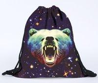 urso kawaii venda por atacado-39x30 cm Harajuku Pano Bonito Sacos De Cordão De Lona Urso Kawaii Sacos de Armazenamento Mochila 3d Impresso Saco Do Presente Das Mulheres
