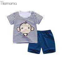 bebé establece monos al por mayor-2019 Summer Baby Boy Clothes Newborn Striped Cartoon Monkey Tshirt + Shorts Set Girls Baby Clothing 6m-24months