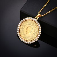 Wholesale white copper coin resale online - Never Faded Big Size Turkey Coin Pendant Necklaces with Shiny Crystal for Women Gold Color Turkish Coins Jewelry Ethnic Gifts