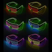 ingrosso occhiali da pasqua-Led Party Glasses EL Wire Vetro fluorescente Flash con finestra Capodanno Natale Pasqua festa di laurea Bar decorativo luminoso Bar Eyewear