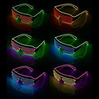 graduação partido óculos venda por atacado-Levou Óculos de Festa EL Fio De Vidro Flash Fluorescente Com Janela Ano Novo Graduação de Páscoa Barra de Festa de Aniversário Decorativa Luminosa Bar Eyewear