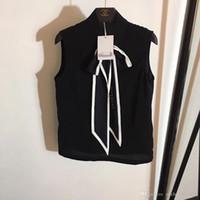 kadınlar için siyah bluzlar toptan satış-Milan Pist Tasarımcısı 2019 Beyaz / Siyah Mektubu Baskı kadın Bluzlar High End Kolsuz Gömlek Bayan 8822