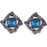 jóias de pedra coreana venda por atacado-Moda Coreana Mulheres Vintage Jóias De Cristal Geométrica Praça De Pedra Do Parafuso Prisioneiro Brincos