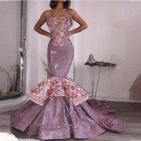 luxus trompete prom kleider großhandel-Glänzend Lila Pailletten Prom Abendkleider 2020 Sexy Schatz Trompete Rüschen Applizierte Formale Vestidos Festzug Kleider Luxus