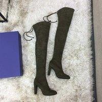 botas verdes del ejército de las mujeres al por mayor-2019 zapatos de diseño de invierno nuevo lujo casual botas altas botas Les chaussures de las mujeres de 35 a 42 yardas de tacón de 9 cm delgada verde del ejército