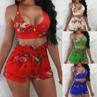 strand outfits frauen großhandel-Frauen 2 Stücke Crop Top Bluse Hohe Taille Blumendruck Shorts Set Overall Strampler Outfits Sommer Strand Swearsuit