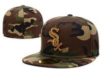 ingrosso cappello piano camo-2018 Nuovi Sox bianco in tutto il Camo colori applicate di piatto Cappelli Lettera ricamato Closed Caps Hip Hop design One Piece