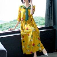 Wholesale plus size silk clothing online – 2019 Summer Women Lanon silk Dress Women Clothes Flower Print Dress Women s Half Sleeve Loose Dresses Plus Size XL