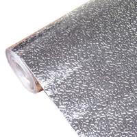 pegatinas de papel de cocina al por mayor-Cocina Estufa De Pared Papel De Aluminio Pegatinas A Prueba De Aceite Anti-incrustante De alta temperatura Autoadhesivo Croppable Wallpaper Wall Sticker