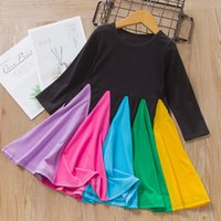 Wholesale rainbow dresses for kids for sale - Group buy 2020 Fashion Children Girils Princess Dresses Patchwork Colorful Long Sleeve Rainbow Dress for Boutique Kids Skirt Clothing M1111