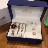 Wholesale crystal bracelet earring watch for sale - Group buy Designer Watch Set Swan Jewelry Set Swan Watch Pearl Bracelet Necklace Earrings Ring Luxury Fashion Accessories Set