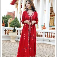 Wholesale indian women costume online - New Sari India style costume cotton thailand Women robe Indian Top Long Blouse National style embroidered dress oriental ethnic clothing