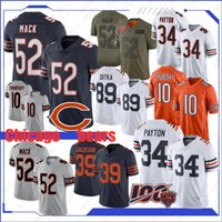 osos jersey xl al por mayor-Chicago 52 Khalil Mack oso Jersey 34 Walter Payton 10 Mitchell Trubisky 89 Mike Ditka 58 Roquan Smith 29 Tarik Cohen Nueva cosido