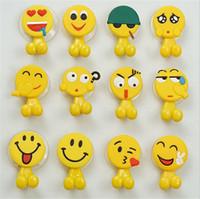 наборы крючков для чашек оптовых-Симпатичные смешные смайлики мультфильм присоске держатель зубной щетки крючки ванной набор аксессуаров