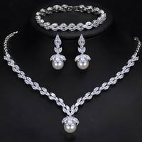 hakiki zirkon küpeler toptan satış-Kadınlar için moda marka kristal 3A + Zirkon düğün hakiki inci aşk bilezik kolye küpe kolye küpe Bakır takı C03 kolye