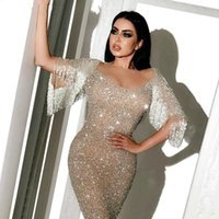 Wholesale floor length lace dresses for sale - Group buy Plus Size Dubai Silver Glitter Prom Dresses Long Floor Length Sexy Mermaid Arabic Formal Evening vestidos