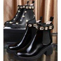 kemer tokası topuklu ayakkabılar toptan satış-2019 yüksek kalite Kadın Deri ayakkabı Lace up Şerit kemer toka ayak bileği çizmeler fabrika doğrudan kadın kaba topuk yuvarlak kafa sonbahar Martin Çizmeler