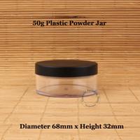 tarro de tapa negra al por mayor-30pcs / Lot plástico al por mayor 50g Jar Loose Powder con Tamiz Botella 50ml Crema cosmética casquillo envase Mate Negro maquillaje compacto