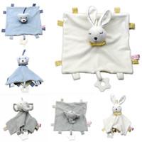 battaniye bebekleri toptan satış-Peluş Bebek Yatıştırmak Havlu Bebek Battaniye Oyuncak Yumuşak Dolması Hayvan Bebek Havlu Çocuk Konfor Emzik Fil Tavşan Ayı Bebek C53 yatıştırmak