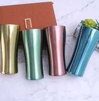 tazas de metal camp al por mayor-Tazas de acero inoxidable Tazas de viaje de metal de una sola capa Tazas coloridas Acampar al aire libre Beber Café Té Jarra de cerveza KKA6874