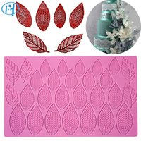 Wholesale lace silicone decoration resale online - Large Size Fantasy Flower Petal and Leaves Cake Silicone Mat Wedding Fondant Silicone Lace Mold Lace Mat Cake Decoration Mold T191018