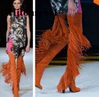 kahverengi şık toptan satış-2019 Yeni Trendy Tasarım Kadınlar Chic Kahverengi Saçak Blok Topuklu Uyluk Yüksek Topuklu Çizmeler Püskül Tıknaz Topuk Püskül Moda Uzun Çizmeler