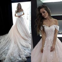 Wholesale robe blush resale online - 2020 New Blush Pink Off The Shoulder Lace Wedding Dresses Tulle Appliques Beaded A Line Bridal Country Wedding Gowns robes de mariée BC2044