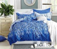 cama chinesa azul venda por atacado-4 Pcs Conjunto de Cama Chinês Tradicional Estilo Azul e Branco Porcelana Impresso Capa de Edredão Conjunto de Tamanho Completo