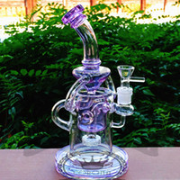 Wholesale Glass Bong Water Pipe Honeycomb Recycler unique Lavender color heady art pipe with percolator inch Height mm male