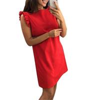 robes transparentes rouges fille achat en gros de-Mini robe sans manches pour femmes Kawaii Femme Cou O Casual droites Robes mignonnes volants solides Filles Sweet Red Sundress Ukraine