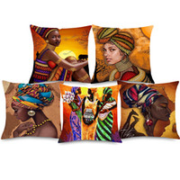 Wholesale oil painting dancing girl resale online - African Girl Portrait Oil Painting Cushion Cover Dancing Woman African Culture Home Decorative Linen Pillows Cover for Sofa Chair Seat