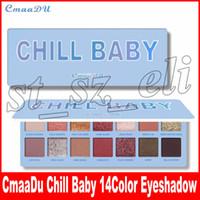 bebek kozmetiği toptan satış-CmaaDu 14 Renk Çıplak Shining Göz Farı Paleti Makyaj Glitter Pigment Dumanlı CHILL BEBEK Göz Farı Paleti Su Geçirmez Kozmetik