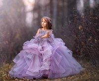 desfile infantil vestidos morados al por mayor-niñas vestidos del desfile del Organza púrpura perlas niñas desfile de vestidos de manga larga princesa niños vestidos de desfile de niñas