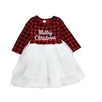 âge robe de noël achat en gros de-XMAS enfant en bas âge Enfants Bébés filles le jour de Noël Romper Tops Tutu Robe tout-petits enfants manches longues fémorales Plaid Baby Dress