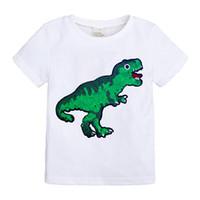 junge kind modell sommer großhandel-neues Modell scherzt neue Paillettegesichtsänderungsfarbengesichts-Karikaturbaumwollt-shirt Jungen und Mädchen des Sommers