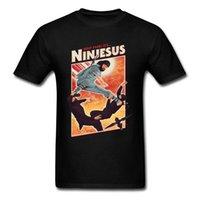ingrosso camicia nera di kung fu del cotone-Ninjesus personaggio buffo maglietta Uomini 3D SUPERA IL T-shirt Gesù Black T Shirt Estate Cotone Kung Fu Tshirt