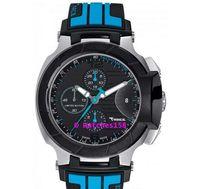 t rennen chronographen quarz großhandel-T048 Quarzuhr der freien Verschiffen-Männer T048.427.27.057.02 T-Sport T-Rennen MotoGP schwarzes Vorwahlknopf-Blau CHRONOGRAPH T0484272705702
