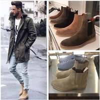 denimstiefel für männer großhandel-Klassische Männer Wildleder Stiefeletten Designer Kanye West Gemeinsame Projekte Chelse Boot Mode flache Winterstiefel 6 Farben Größe 4-13