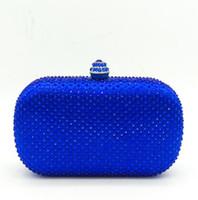 Wholesale royal blue clutch bags for sale - Group buy Royal Blue Rhinestones Clutch Women Evening Purse Bridal Handbag Wedding Party Crystal Chain Shoulder Bag MIL0982