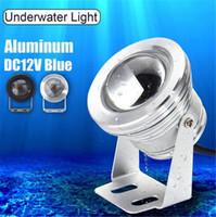 ingrosso luci blu della piscina principale-Lampada subacquea a LED Azzurro Illuminazione DC 12V 10W IP68 Impermeabile Piscina Marine Boat Yacht Lampada da pesca LED Floodlight
